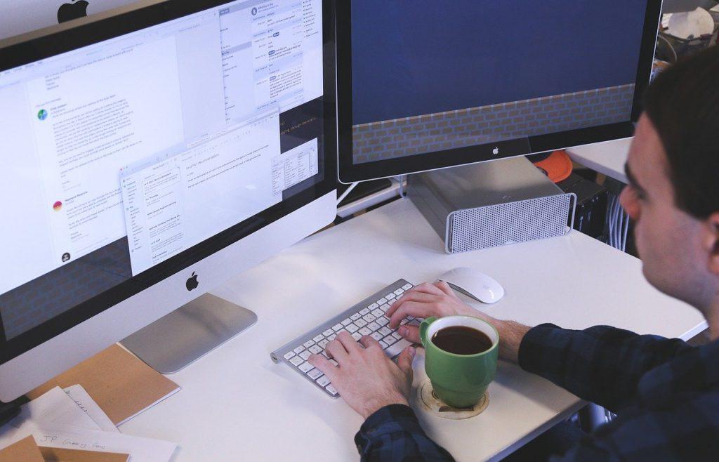 typing, computer, man